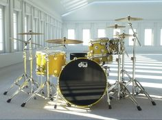 DW Drums - the best!  I play Collectors Series in Ebony Satin with black hardware.  Will find a pic to Pin...