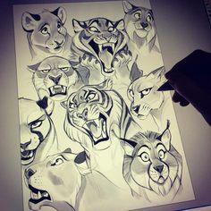 "6,667 Likes, 101 Comments - Hedvig (@vixiearts) on Instagram: ""Added some more buddies to the tiger.  Feline-studies. #art #artist #feline #artwork #artstagram…"""