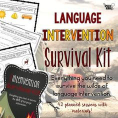 This amazing printable resource has all you need to survive the wilds of language intervention! 42 planned sessions with materials for Kindergarten through fifth grades. Great for your English Language Arts, Special Education or Speech Therapy classroom! #students #activities #ideas #SLP #ELA #ELL #language #processing #literacy #centers #minilessons