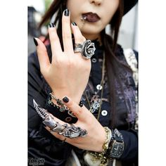 Dir en Grey Fan w/ h.NAOTO, Dark Makeup Queen Bee Shoes in Harajuku ❤ liked on Polyvore featuring jewelry and random