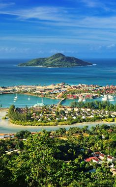 Aerial view on the coastline of the Seychelles Islands. Want to go before they disappear...