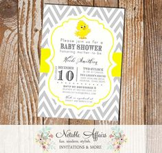 Gray and Yellow Baby Chick Chevron Baby Shower Birthday or Gender Reveal Invitation - colors can be changed by NotableAffairs