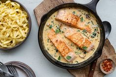 Zalm in romige saus met tagliatelle - 24Kitchen Fish Recipes, Healthy Recipes, Good Food, Yummy Food, Happy Foods, Tasty Dishes, Italian Recipes, Meal Planning, Seafood