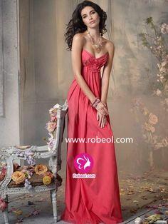 Fourreau Col En Cœur Longueur Ras Du Sol Robe Demoiselle Honneur En Taffetas Avec Fleurs Manuelles