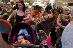 Mothers in Madrid protest a store that ejected a woman for breastfeeding.