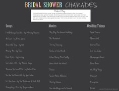 Bridal Shower Charades - Just like the classic charades, only with a bridal shower twist!  #bridalshowergames #bridalshower