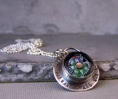 Sterling Silver Compass NecklaceUnique Jewelry by MoodiChic, $50.00