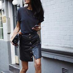 Walk this way // skirt @riverisland ,tee @currentelliott #allblack