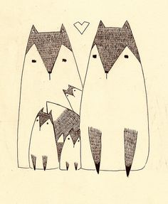 Foxes in love - Illustration