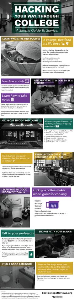 Hacking Your Way Through College A Simple Guide To Survival  #Infographic #Education #College