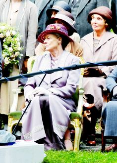 Maggie Smith as Violet Crawley, and Sue Johnston as her lady's maid Denker - Downton Abbey filming, 11th August, 2014.