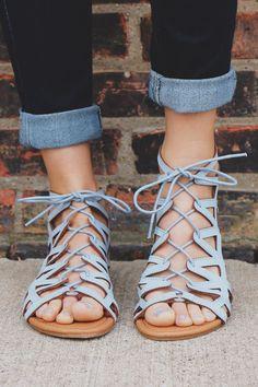 PIN: SSB * Blue Sandals, Flat Strappy Sandals, Black Flat Sandals, Strappy Sandals Outfit, Gladiator Flats, Shoes Flats Sandals, Spring Sandals, Cheap Sandals, Women Sandals