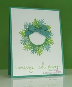 Christmas card (inspired by Amy Whelan) made with Ornamental Pine and Endless Wishes stamp sets from Stampin Up by Kathleen Wingerson www.kathleenstamps.com