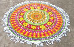 Orange Pink Floral Round Mandala Yoga Mat with White Tassels