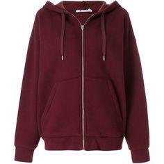 T By Alexander Wang Dense Fleece Zip Thru hoodie ($462) ❤ liked on Polyvore featuring tops, hoodies, red, fleece hoodies, sweatshirt hoodies, zip front hoodie, fleece hoodie and hooded sweatshirt