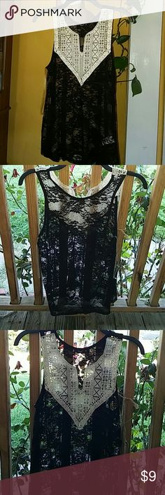 Cream & Black Top Lace top, cream & black, size medium. Tops