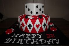 This casino cake would be so cool for Danielle and Brian's casino/red and black theme wedding!