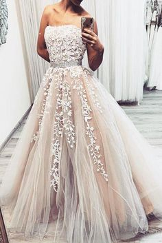 Prom Dresses Ball Gown, Champagne tulle lace long prom dress, tulle lace evening dress, from the ever-popular high-low prom dresses, to fun and flirty short prom dresses and elegant long prom gowns. Cute Prom Dresses, Sweet 16 Dresses, Tulle Prom Dress, Lace Evening Dresses, Bridal Dresses, Formal Dresses, Tulle Lace, Maxi Dresses, Elegant Dresses