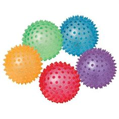 """Colorful soft rubber balls, covered in bumps, add variation to tossing and catching activities—and offer awesome tactile fun! Easy to grip, making it great for beginners. Includes: one each in pink, blue, green, orange, and purple. SIZE: 8"""" diameter. Also available in: 6"""" diameter (W41408)."""