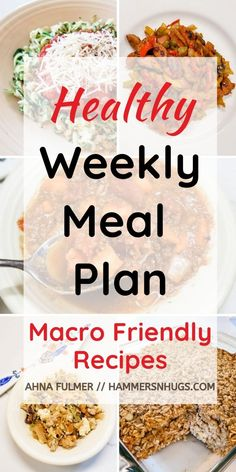 Download this healthy weekly meal plan with grocery list for macro friendly recipes to promote fat loss and make meal planning easy! Tap on the pin to find these recipes and more with Ahna Fulmer // HammersNHugs.com. #mealplanningmonday #healthymealplan #mealplan #glutenfreerecipes #lowcarbrecipes #dairyfreerecipes #healthyrecipeshare #healthyrecipes #healthyrecipe #mealplans