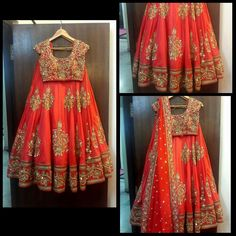 Red heavy work half saree #Mrunalini Rao collections- Hyderabad