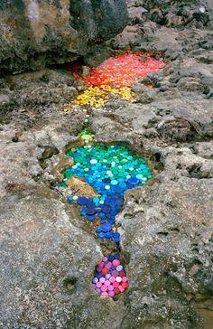 """alejandro duran - collected """"trash"""" on the mexican shore  mosaicos con tapitas de botellas para rellenar lugares dificiles y peligrosos donde puede ocurrir alñgun accidente :)"""