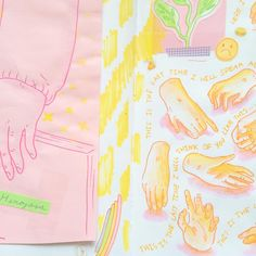 Sketchbook page ft. random water colored hands ✨