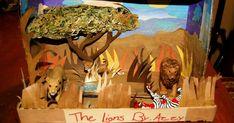 Dioraaaaaaaaaaaaammmmmmmaaaaaaaaaa! Our daughter was recently assigned to do a diorama of a lion's habitat. Of course she had a little help...