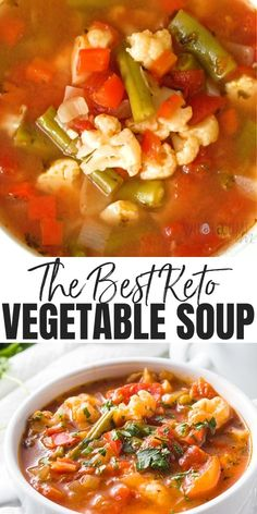 The Best Keto Low Carb Vegetable Soup Recipe - The best vegetable soup recipe ever, ready in 30 minutes! If you want to know how to make healthy vegetable soup or keto low carb vegetable soup, this one checks all the boxes. #wholesomeyum Best Vegetable Soup Recipe, Vegetable Soup Crock Pot, Homemade Vegetable Soups, Low Carb Soup Recipes, Cabbage Soup Recipes, Cabbage Soup Diet, Dinner Recipes, Healthy Recipes, Vegan Vegetable Soup