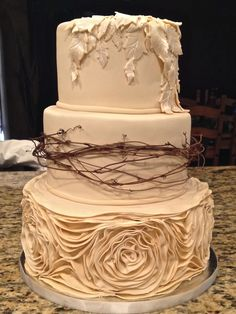 Ivory Rustic Wedding Cake by Desserts By Rondi