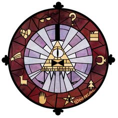 Gravity Falls stained glass Bill Cipher zodiac artwork by puzzlecube