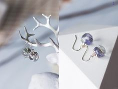 Silver 925 earrings with blue petals asters - blue flower resin earrings by crystalMystery on Etsy