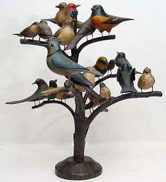 folk art carved bird tree