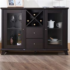Need extra storage in your dining room? Add this stylish dark finish sideboard to your decor. With a glass-front cabinet door and wine rack, this buffet sideboard will display your finest dinnerware b