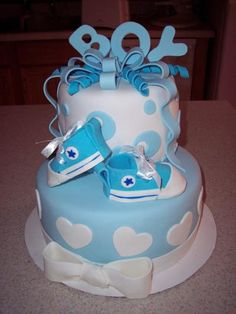 Baby Shower Cake, Boy - I made this for a friend who was hosting a baby shower. Cake is red velvet with chocolate butter cream frosting. All decorations are MMF. I shamelessly copied the shoes from pic's I saw on CC. Torta Baby Shower, Baby Shower Cakes For Boys, Baby Boy Shower, Baby Shower Gifts, Baby Showers, Baby Cakes, Cupcake Cakes, Pink Cupcakes, Beautiful Cakes