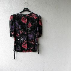 vintage  top Floral  shirt size S by DamovFashion on Etsy, zł69.00