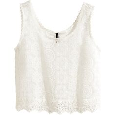 H&M Sleeveless lace top (€9,81) ❤ liked on Polyvore featuring tops, crop tops, shirts, white, lace tank, white tank top, white shirt, white sleeveless shirt and white tank