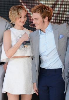 Jennifer Lawrence and Sam Claflin at Cannes 2014. May 17th 2014.
