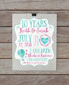 10 Year Anniversary Gifts, Tenth Anniversary Paper Gift, 1 Year, Custom Print, Husband, Wedding Anniversary, Gift for Wife, Beach Sign