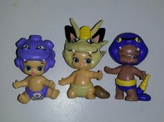 Custom hand painted with sculpted details Twozies baby Pokemon figures Team Rocket  Koffing  Meowth Ekans To see all the Pokemon crafts I have made or to place an order please visit my Facebook page https://m.facebook.com/sparklesandstring/