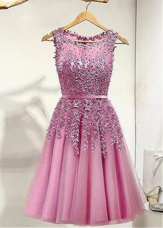 Buy discount Elegent Tulle Bateau Neckline A-line Homecoming Dresses With Lace Appliques at Dressilyme.com