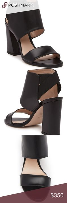 """Stuart Weitzman Inpower Sandal Inpower yourself in this beautiful leather structured, open toe sandal. - Open toe - Crossed elastic straps behind the ankle - Back goring - Block heel  - Approx. 3.5"""" heel - Leather upper and sole Stuart Weitzman Shoes Sandals"""