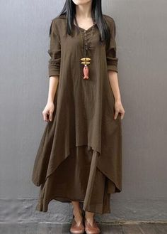 Button Design Long Sleeve Layered Maxi Dress on sale only US$27.79 now, buy cheap Button Design Long Sleeve Layered Maxi Dress at www.lulugal.com