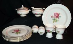 SETS OF 4: Homer Laughlin Eggshell Nautilus Calirose Dinner Plates from ruthsredemptions on Ruby Lane