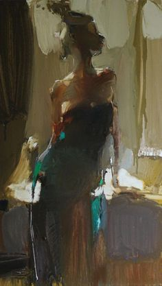 Artist: Iryna Yermolova {contemporary figurative woman abstract standing female cropped painting}