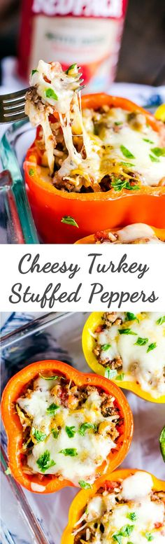 An easy cheesey turkey stuffed peppers recipe perfect for weeknight dinner…