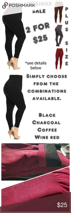 💣 TUMMY CONTROL LEGGINGS💕PLUS SIZE INCREDIBLY COMFORTABLE!  HIGH WAIST STAYS IN PLACE!  TUMMY CONTROL PANEL IS SUPPORTIVE AND COMFORTABLE!   THICK & WARM!  These will quickly become your new favorite legging!  French Terry lining High waist Tummy control compression panel Thick and warm for fall/winter  Please note the wine red color has light speckling of black through it.  Please choose from the color combinations below. Pants Leggings