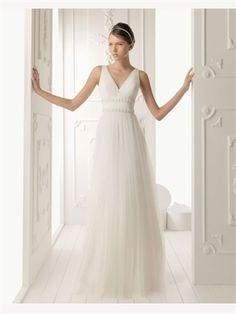 White Column V-Neck Beading Sash Tulle 2014 Wedding Dresses AWD030210