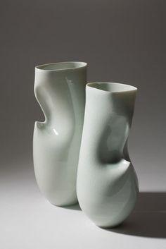 Sara Flynn, Celadon Hipped Vessels, porcelain.