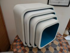 Original Vintage & Retro 1970/80 a Set of Four Cubed floor standing or wall mounted floating Shelves White and Blue by VintageFoggy on Etsy